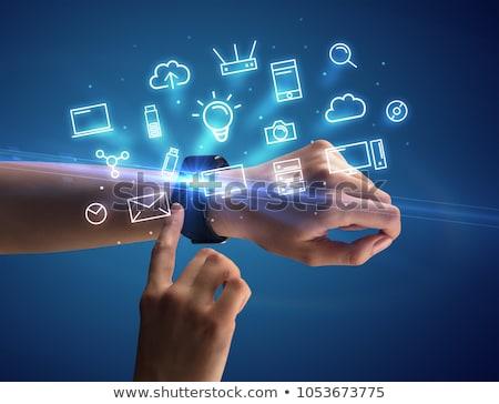 Hand tragen Multimedia Symbole weiblichen Stock foto © ra2studio