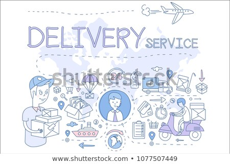 delivery truck with clock hand drawn outline doodle icon stock photo © rastudio