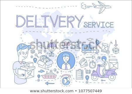 Szállítóautó óramutató rajzolt skicc firka ikon Stock fotó © RAStudio