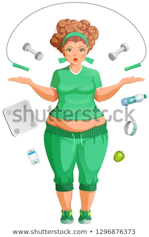 Fat woman is going to lose weight. Fitness life accessories Stock photo © orensila