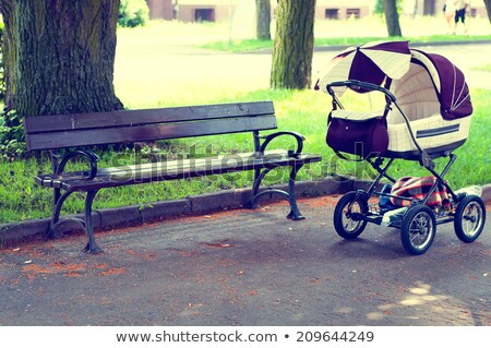 young mother with a baby carriage park bench stock photo © studiostoks