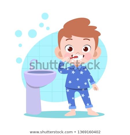 Kicsi fiú fogmosás wc illusztráció ház Stock fotó © colematt