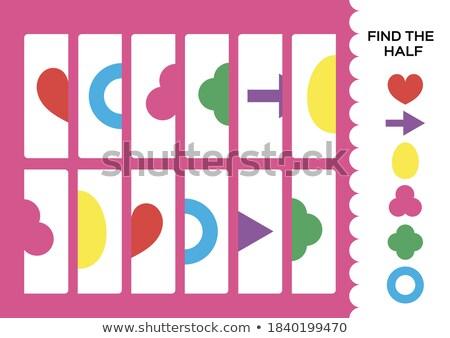 match halves of hearts educational game Stock photo © izakowski