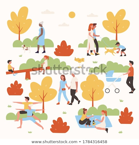 People Relaxing in Autumn Park, Family with Pram Stock photo © robuart