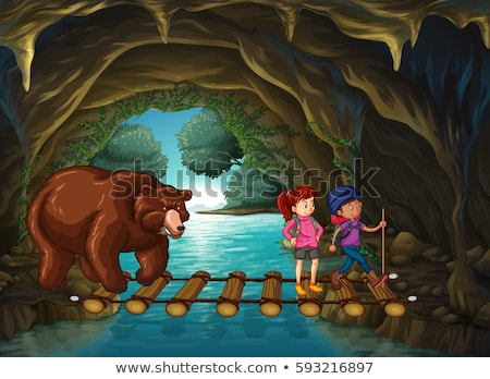 Hikers and bear in the cave Stock photo © colematt