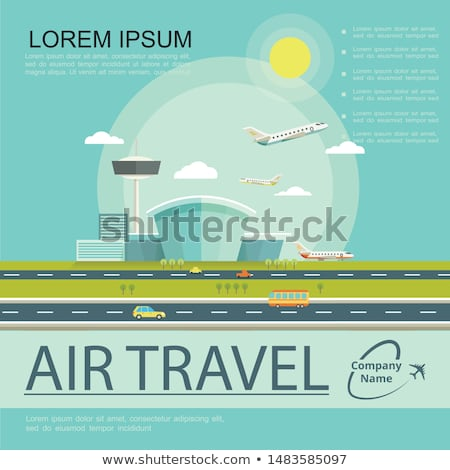 At the airport - flat design style colorful illustration Stock photo © Decorwithme
