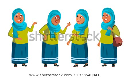 Arab, Muslim Old Woman Poses Set Vector. Elderly People. Senior Person. Aged. Friendly Grandparent.  Stock photo © pikepicture