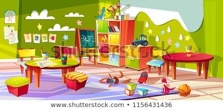 üres iskolatábla színes ceruzák szoba fából készült Stock fotó © make