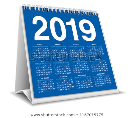 2019 year calendar on white background isolated 3d illustration stock photo © iserg