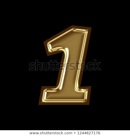 chrome font with colorful reflections number 1 one 3d stock photo © djmilic