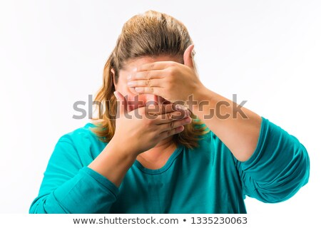 Shy fatty woman covering her face Stock photo © Kzenon