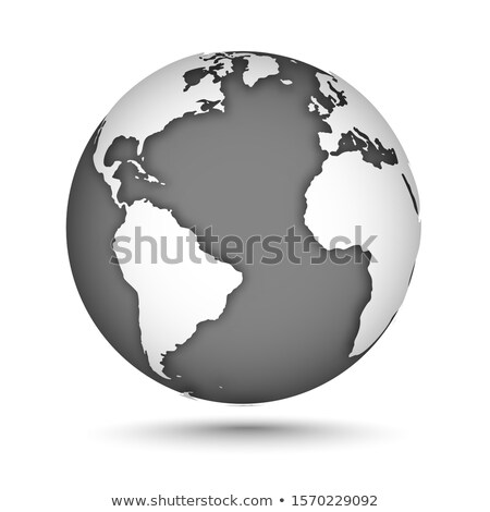globe icon with smooth shadows and black map of the continents of the world stock photo © kyryloff