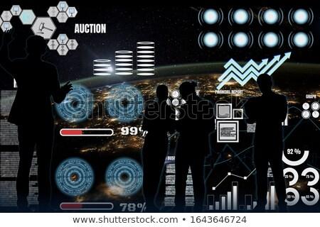 man · virtueel · charts · statistiek · gegevens · landing - stockfoto © smoki