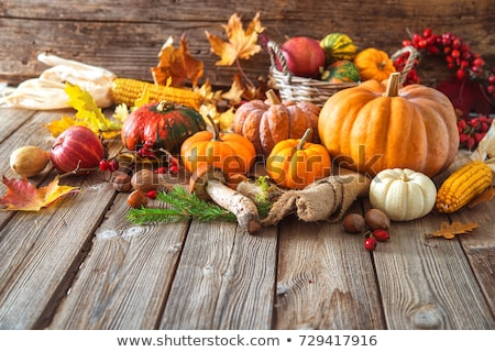 Stock photo: Autumn still life with pumpkins and fruits