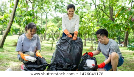 man collecting garbage outdoors Stock photo © nito
