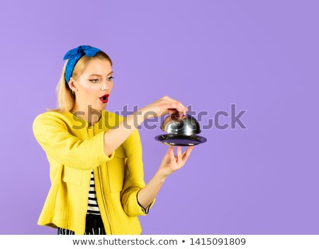 business woman holding empty restaurant cloche Stock photo © 3dmask