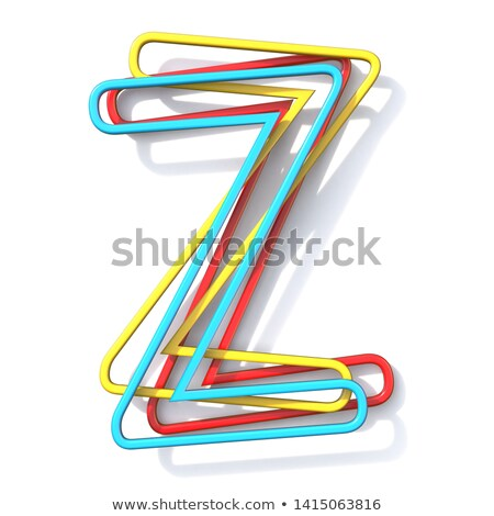 three basic color wire font letter z 3d stock photo © djmilic