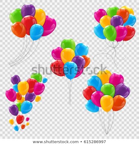 renkli · balonlar · ayarlamak · yalıtılmış · beyaz · eps - stok fotoğraf © pikepicture