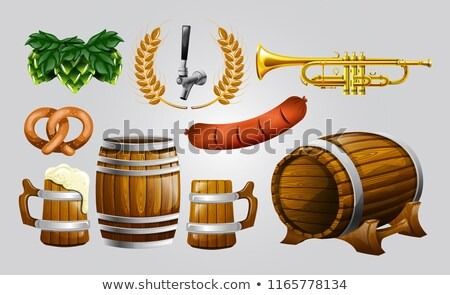 Wooden Barrel With Engraving Invitation Vector Stock photo © pikepicture