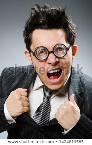 Vicces stréber üzletember sötét stúdió üzlet Stock fotó © Elnur