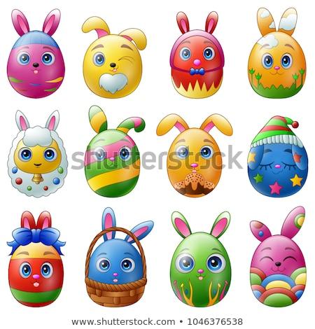 Kellemes húsvétot tojások emotikonok szett üdvözlőlap emotikon Stock fotó © marish