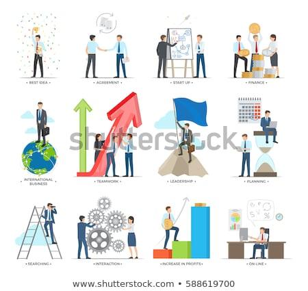 Wzajemne oddziaływanie działalności international business wektora plakat Zdjęcia stock © robuart