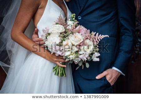 Foto stock: Buquê · de · casamento · branco · rosa · rosas · recém-casado · casal