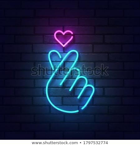 Serca ręce neon miłości promocji strony Zdjęcia stock © Anna_leni