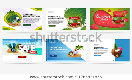 stylish set of sale banners in origami style stock photo © sarts