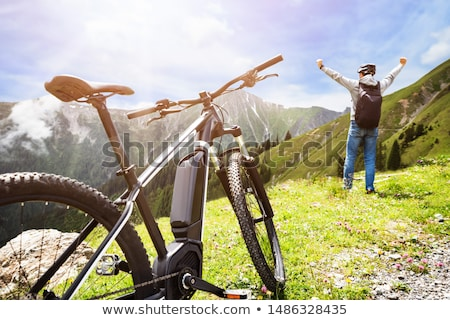 Man Enjoying View After Finishing Uphill Mountain Track Stock photo © AndreyPopov