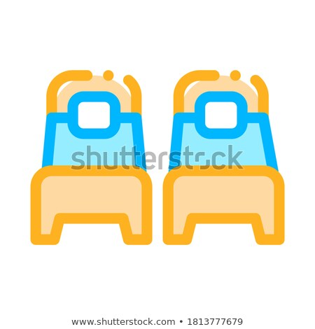 Two Single Place Beds Vector Sign Thin Line Icon Stock photo © pikepicture