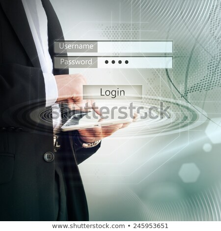 tablet · veiligheid · hand · online · business - stockfoto © ra2studio