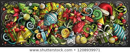 2020 hand drawn doodles chalk board illustration new year objec stock photo © balabolka