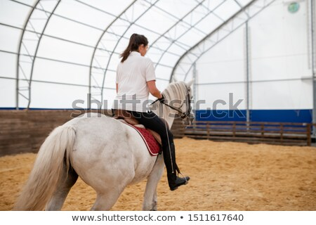 White racehorse with young active woman on back moving down sandy arena Stock photo © pressmaster