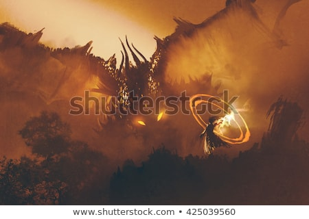 Foto stock: Warrior And Dragon