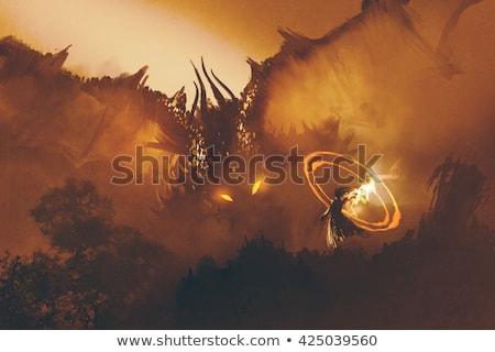 dragón · caballero · valiente · nino · castillo - foto stock © ensiferrum