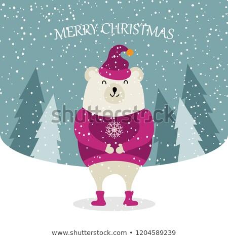 Bella design orso polare Natale poster Foto d'archivio © balasoiu