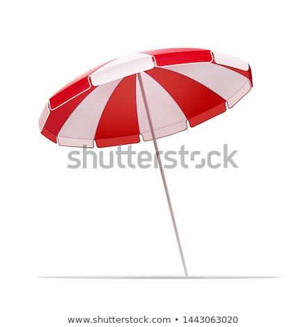Guarda-sol ícone branco verão relaxar vermelho Foto stock © smoki