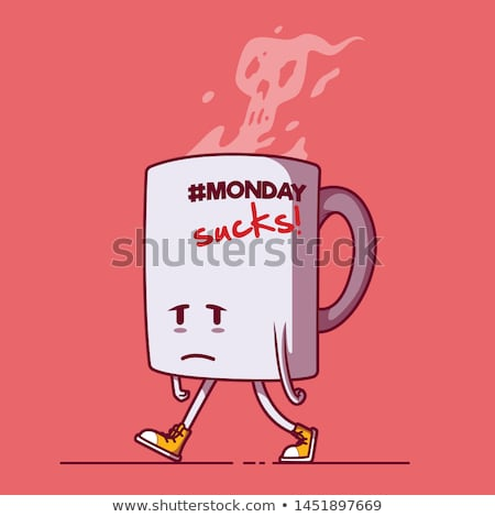 blue mug with sad face and text blue monday