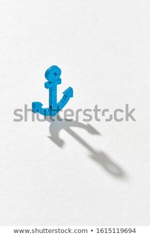 Mavi amblem çapa uzun gölgeler gri Stok fotoğraf © artjazz