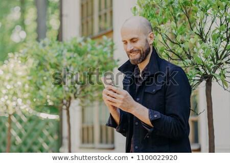 Positivo calvo jóvenes masculina rastrojo moderna Foto stock © vkstudio