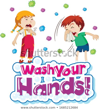 Poster design for coronavirus theme with word washing hands Stock photo © bluering