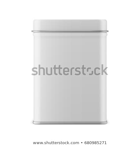 White square tin packaging. Tea, coffee products Stock photo © netkov1