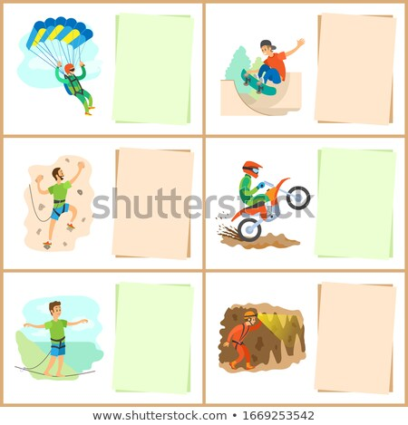 Climbing and Speleotourism Active Lifestyle of Men Stock photo © robuart