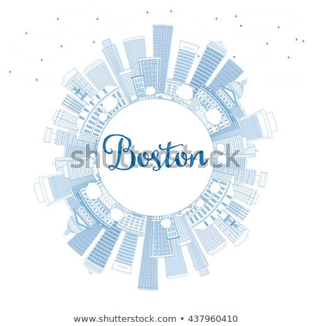 Outline Boston Skyline with Blue Buildings and Copy Space.  Stock photo © ShustrikS