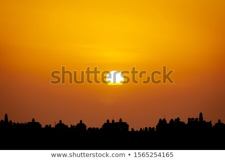 Cape Town City skyline golden silhouette. Stock photo © ShustrikS
