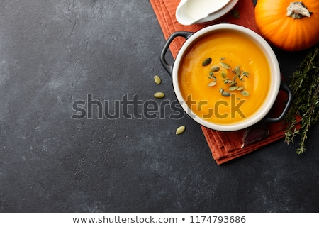 Vegetarier Herbst Kürbis Sahne Suppe Stock foto © Melnyk