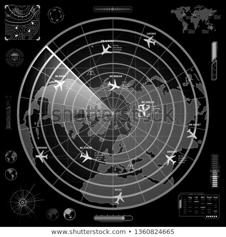 Black and white military radar display with with planes traces and target signs Stock photo © evgeny89