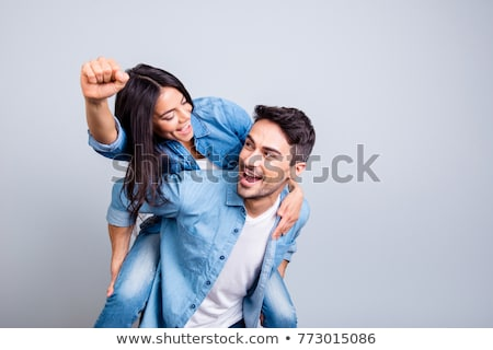 写真 興奮した 若い女性 笑みを浮かべて 勝者 ストックフォト © deandrobot