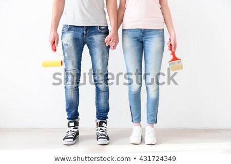 Positive junger Mann halten Pinsel Foto glücklich Stock foto © deandrobot